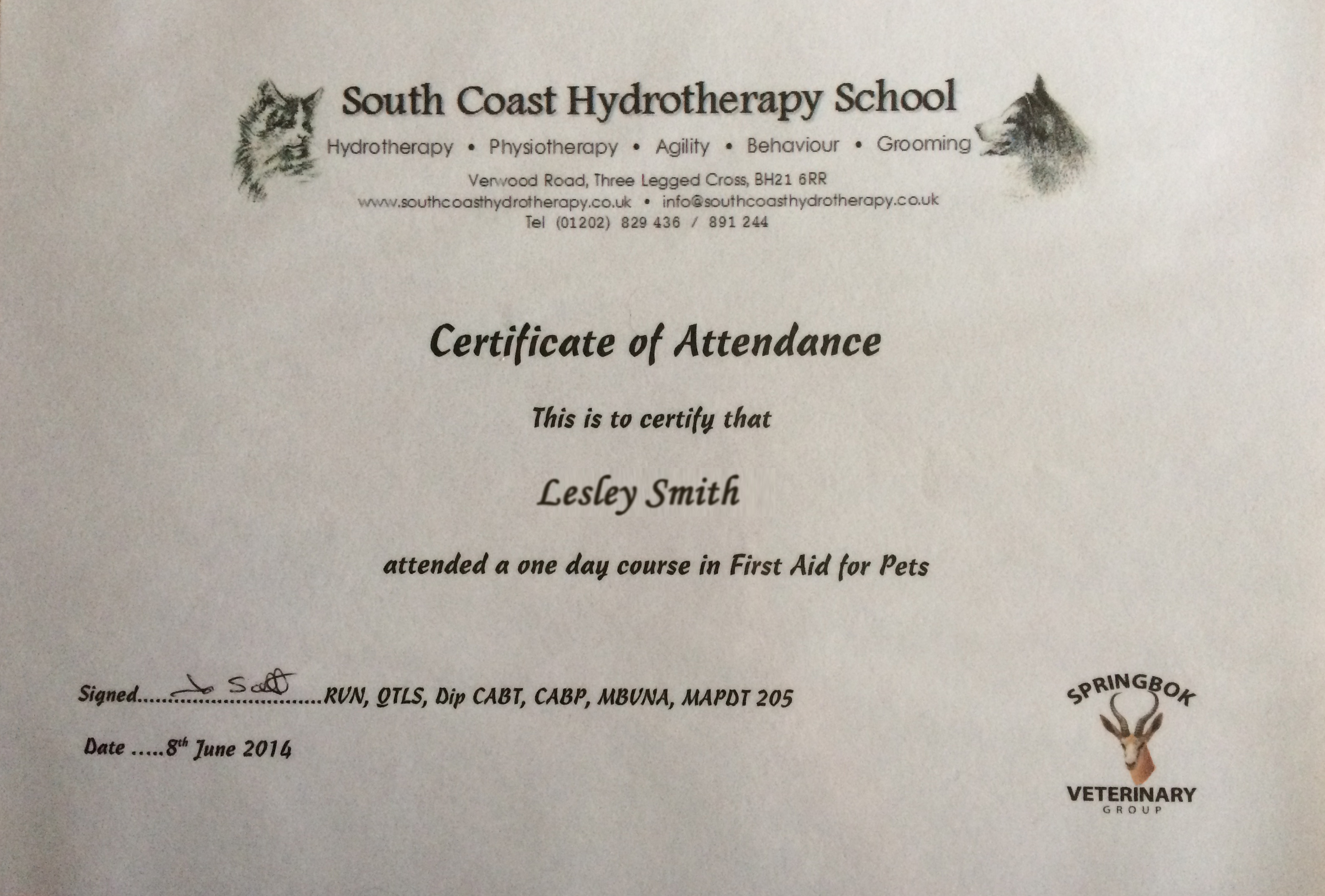first-aid certificate 2014